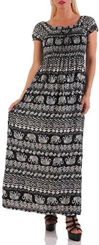 malito Sundress long avec Motif 9901-11 Femme Taille Unique Noir