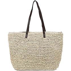 Las bolsas de asas de paja para las mujeres, bolso de compras respetuoso del medio ambiente del bolso del totalizador del bolso de la playa del verano