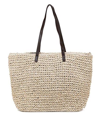 ilishop Straw Tote Taschen für Frauen, Sommer Strand Umhängetasche Tote Handtasche umweltfreundliche Einkaufstasche (Sommer Tote Taschen)