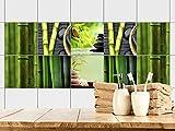 GRAZDesign 770356_15x15_FS10st Fliesenaufkleber Bad Motiv - Wellness mit Bambus -Grün | Fliesen mit Fliesenbildern überkleben | 10 Motive | selbstklebende Folie für Badezimmer oder Kosmetik-Studio (15x15cm // Set 10 Stück)