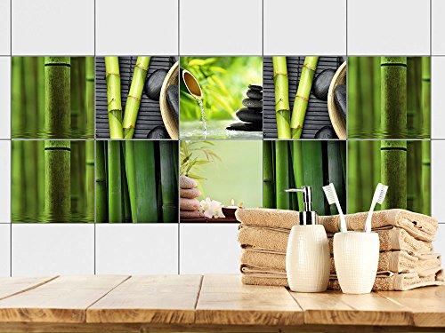 GRAZDesign 770356_15x15_FS10st Fliesenaufkleber Bad Motiv - Wellness mit Bambus -Grün | Fliesen mit Fliesenbildern überkleben | 10 Motive | selbstklebende Folie für Badezimmer oder Kosmetik-Studio (15x15cm // Set 10 Stück) Bambus-studio