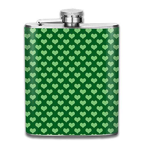 Edelstahl Flachmann 7 oz (kein Trichter) grünes Liebesherz voll bedruckt