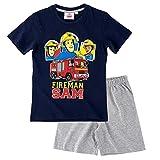Feuerwehrmann Sam - Kinder Shorty Pyjama - Schlafanzug Kurz Gr. 92-140, Größe:116, Farbe:Dunkelblau