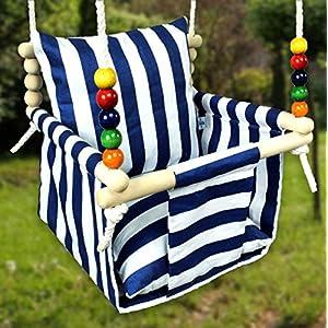 BlueKitty Schaukel für Kinder; Babyschaukel; Kinderschaukel mit Kissen; Schaukel für Haus und Garten; Schaukel aus Holz, Babyschaukel, Stoffschaukel, Kleinkindschaukel, Innenschaukel, Verandaschaukel, Kinderzimmerdekor, Holzschaukel, Babypartygeschenk