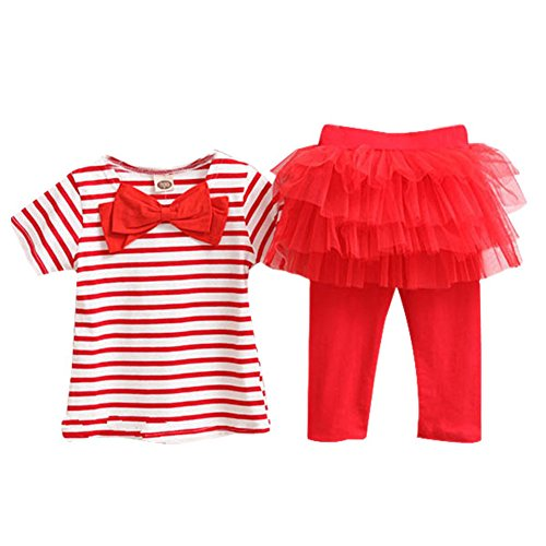 Silvercell Baby Stripe Bow Top T-shirt Kuchen-Rock Leggings Culottes Sets