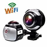 360 Grad Panorama VR Actionkamera,CAMTOA Sport DV 2448P 30FPS WiFi Mini 3D VR Action Kamera,Wasserdicht 30M 220° Winkelobjektiv...