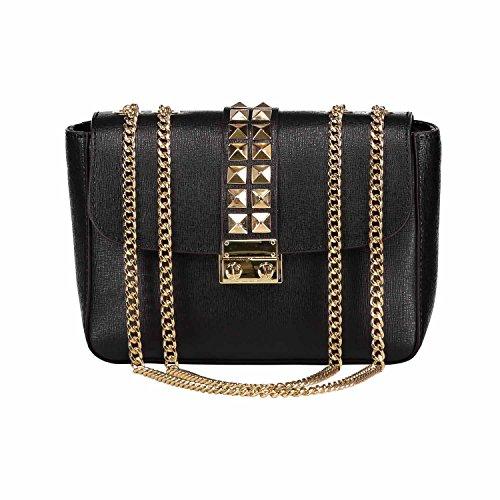 VICHY Borsa pochette a spalla tracola catena e accessori in metallo oro chiaro, pelle Saffiano (Nero)