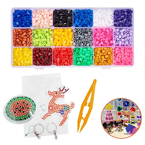 INTVN Perline da Stirare 4800 Perline a Fusione 5mm Fuse Beads DIY Melty Beads Set Gioco Creativo Fai Da Te per Bambini, 18 Colori Assortiti
