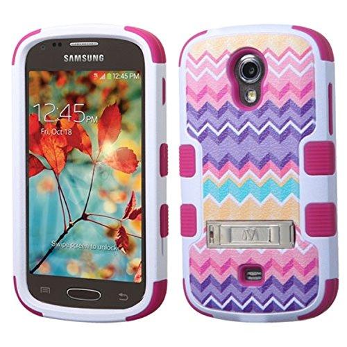 Impact + Silikon TUFF Schutzhülle + Standfunktion Schutzfolie für Samsung T399Galaxy Light, Camo Wave/Hot Pink (Cover Für Samsung T399)