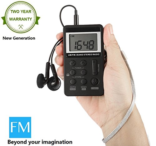 Fm Radio Am Tragbare / Mini (Tragbares Radio AM/FM Taschenradio Digital Mini Radio mit Kopfhörer von Mesuvida (Digitaluhr Funktion, LCD Display, Wiederaufladbarer 500mAh Akku))
