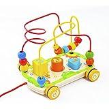 ACOOLTOY Perle de Roulement en Bois Maze Toy Labyrinthe Formes Géométriques pour Bébé