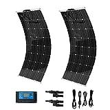 Kitechildhrrd 2x 100W Solaranlage Solarpanel Komplettset Flexibel Monokristallin Solar Panel Camping 12 Volt Solarmodul Solarzelle SET für Wohnmobil, Gartenhäuse, Boot etc. (2 x 100W)