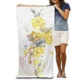 YSEFHX Strandtücher Bath Towel Hand Flower Illustration Creative Patterned Soft 31