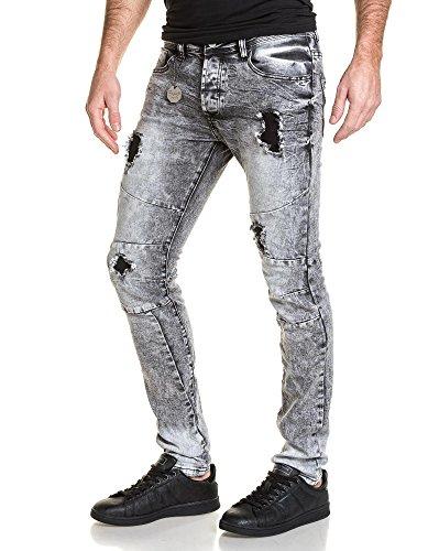 Project X - dunkelgraue Jeans verblasst Mann zerstören Grau