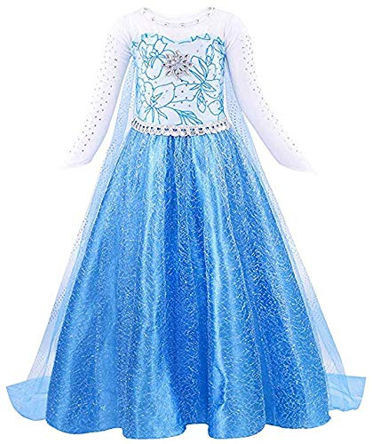 Bascolor Vestito Elsa Frozen Bambina Principessa Elsa Costume Ragazze Principessa Elsa Abiti Partito per Halloween Cosplay Festa (5-6 Anni)