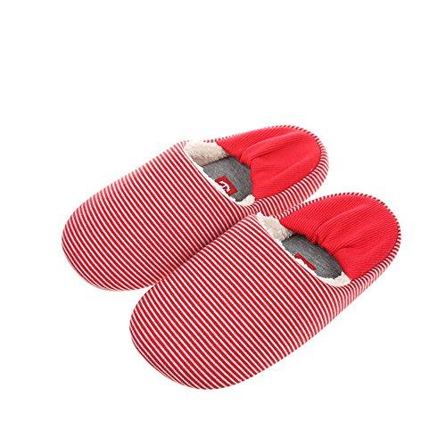 ZHIRONG Couple Automne et hiver Chaussons en coton épais Forfait Hommes et femmes avec chaussons intérieurs ( Couleur : Bleu , taille : 36/37 ) Rouge