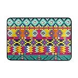 JSTEL Azteken Muster-Fußmatte waschbar Garten Büro Fußmatte, Küche ESS-Living Badezimmer Pet Eintrag Teppiche mit Rutschfeste Unterseite