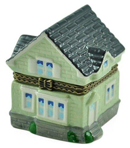 New Home Zwei Story Burb Haus in American Vorort aufklappbaren Porzellan Schmuckkästchen