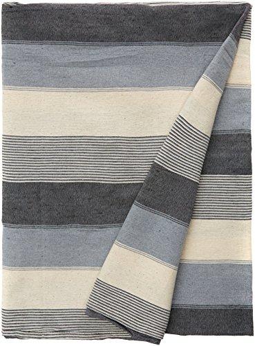kliving 70 x 100-Inch 75% coton 25% polyester à rayures Couvre-lit Naturel,/noir/vert