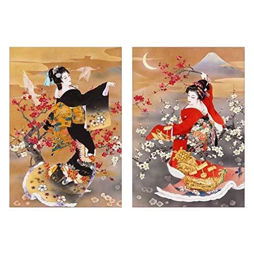 Impresión en Lienzo Pintura de Pared 2 piezas Chica disfraz japonés Cuadros En Lienzo para La Decoración Pintura al óleo Sala de estar Dormitorio Salon Arte,45cmx65cmx2
