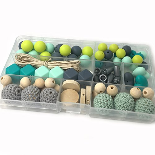 Coskiss DIY Krankenpflege Halskette Kit Gemischte Farbe Geometrie Hexagon Silikon Perlen Herzförmige Silikon Runde Silikon Perlen Hölzerne Häkeln Perlen Schnuller Clip Baby Teether Spielzeug (A124)