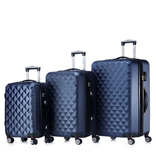 Rotelle per 2066Custodia rigida trolley valigia da viaggio bagaglio valigia da viaggio M, L, XL di set in 12colori, Dunkelblau, Set