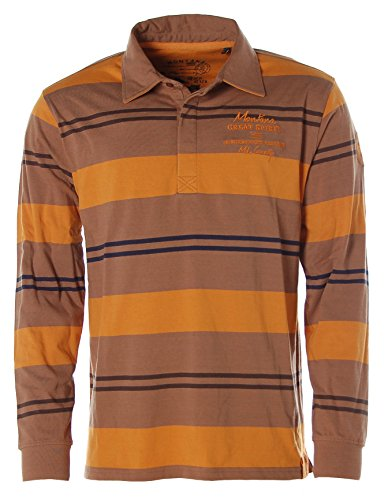 Kitaro Herren Langarm Shirt Poloshirt Streifen -Montana Great Spirit- Desert Palm/Ochre