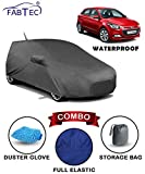 #3: Fabtec Waterproof Car Body Cover for Hyundai Elite i20 with Mirror Antenna Pocket Storage Bag & Microfiber Glove Combo