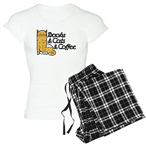 CafePress Books & Cats & Coffee - Womens Novelty Cotton Pajama Set, Comfortable PJ Sleepwear