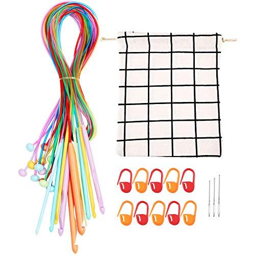 12 pezzi afgano tunisino tappeto crochet ganci afgano tappeto ferri di plastica con borsa, 10 pezzi punti marcatori e 3 pezzi aghi filato smussato