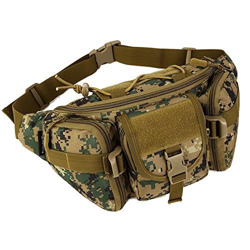 Tactical Waist Pack tragbar Fanny Pack Outdoor Army Hüfttasche Military Taille Pack für Radfahren Camping Wandern (Jungle Digital)