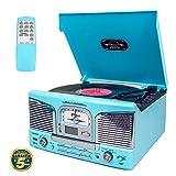 Lauson Tocadiscos Retro Bluetooth y MP3, para CD, USB con Radio FM, Selector de 2 velocidades de Vinilo (33/45 RMP), con 32 memorias programables, Incluye Mando a Distancia, CL149, Color Azul Celeste