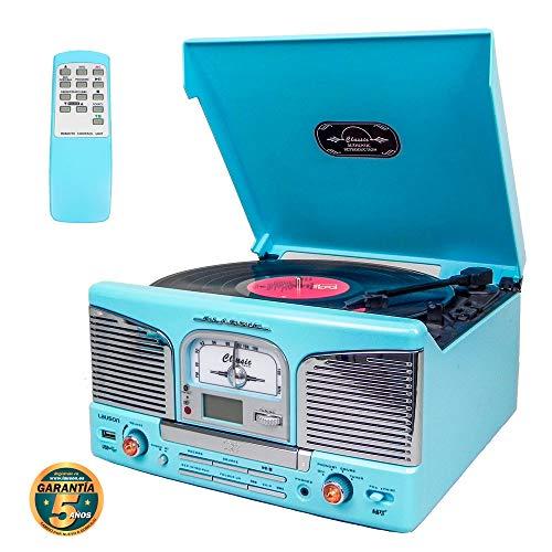 Lauson Retro Bluetooth und MP3 Plattenspieler, für CD, USB mit FM Radio, 2-Gang Vinyl Selector (33/45 RMP), mit 32 programmierbaren Speichern, Inklusive Fernbedienung, CL149, Blaue Himmelsfarbe