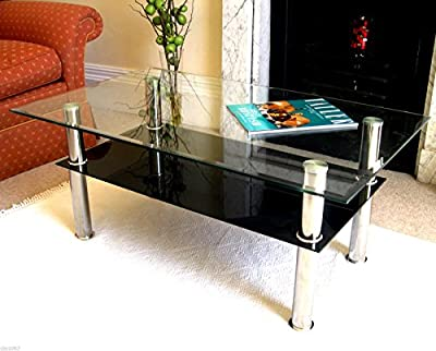 Contemporary Designer Rectangle BLACK/WHITE Glass Coffee Table Modern Furniture