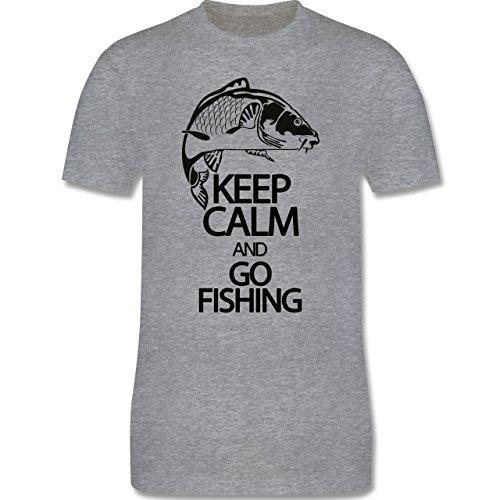 Angeln - Keep calm and go Fishing - Herren Premium T-Shirt Grau Meliert