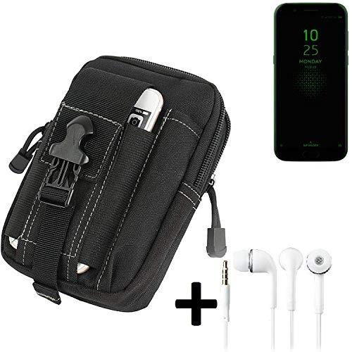 K-S-Trade Gürteltache für Xiaomi Black Shark Gürtel Tasche Schutzhülle Handy Schutz Hülle Smartphone Tasche Outdoor Handyhülle schwarz inkl. Extrafächer + Kopfhörer