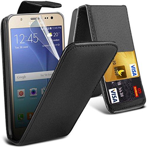 Hülle für Samsung Galaxy J5 / Samsung Galaxy J5 SM-J500F Case Universal Car Phone Halter Halterung Cradle-Dashboard & Windschutz für iPhone yi -Tronixs Leather Flip ( Black )