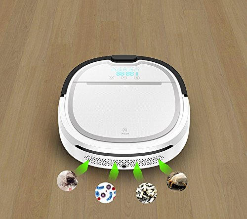 JJYJQR Vacuum Cleaner Intelligent Wet And Dry Robot Vacuum Cleaner For Home With 750Ml Dustbin And 180Ml Water Tank Robotic Aspirador,White