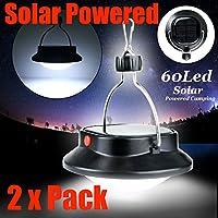ZOLMAX 2 Pack Solar Ultra Bright LED Outdoor Camping Tent Light Lantern Hiking Fishing Lamp