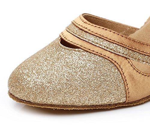 Minitoo QJ7012 Damen Low Chunky Heel Pumps Suede Ballroom Latin Dance Gold