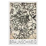 artboxONE Poster 60x40 cm Städte Retro Map Braunschweig