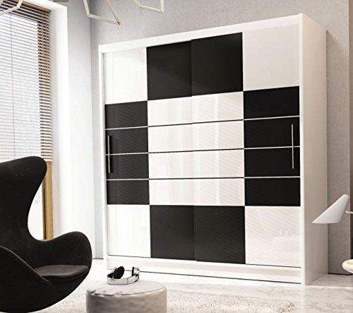 Kleiderschrank ARUBA in Weiß und Schwarz mit weißgetöntes Glas, Breite 203 cm, Höhe 223 cm, Tiefe 61 cm