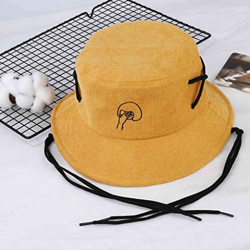 Imagen de sombrero del pescador algodón plegable bucket hat al aire libre visera para senderismo camping y playa 56 58 cm amarillo alternativa