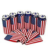 SH-Flying 6 PCS USA Flag Slim Can Cooler Sleeves - Birra Skinny 12 Oz Neoprene Coolies - Perfetto per 12 Oz Slim Red Bull, Michelob Ultra, Spiked Seltzer, Truly