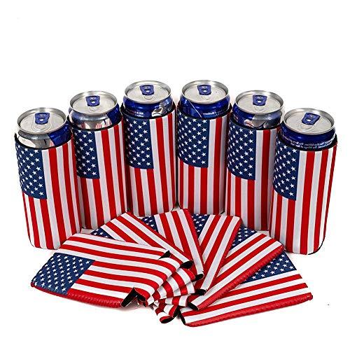 Gorgeousy 6PCS USA-Markierungsfahnen-dünner Dosenkühler-Ärmel, Bier dünn 12 Unze-Neopren Koozies vervollkommnen für dünnes Red Bull, die Wirtschaft, die Masse, faltbar -