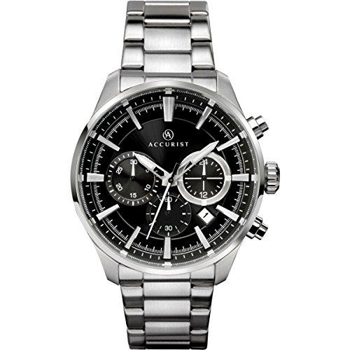 Accurist–Reloj de pulsera analógico reloj de cuarzo con negro Esfera Cronógrafo y plateado correa de acero inoxidable 7194
