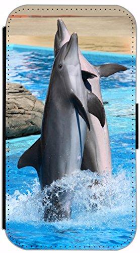 Flip Cover Schutz Hülle Handy Tasche Etui Case für (Apple iPhone 4 / 4s, 628 Delfin im Meer Delphin Blau Grau) 628 Delfin im Meer Delphin Blau Grau