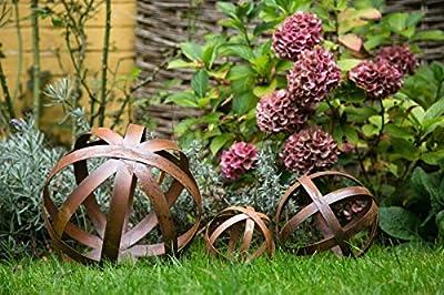 KUHEIGA 3er Set Dekokugel Rost, Stripes von kuheiga bei Du und dein Garten