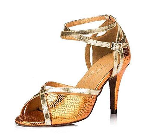Donne Scarpe da ballo Taogo latino Danza Pompe Sandali Da 35 a 40 gold 7.5cm heel