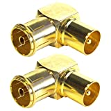 Sentivus Premium Antennen Winkeladapter, Koax Stecker Kupplung, 2er Pack
